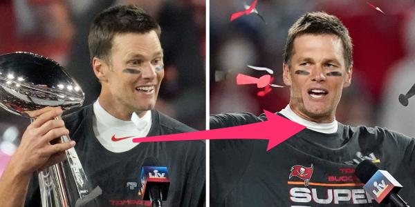 Tom Brady covered up his Nike swoosh after winning the Super Bowl to support Under Armour