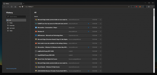 Dark mode in Microsoft Edge is now more consistent