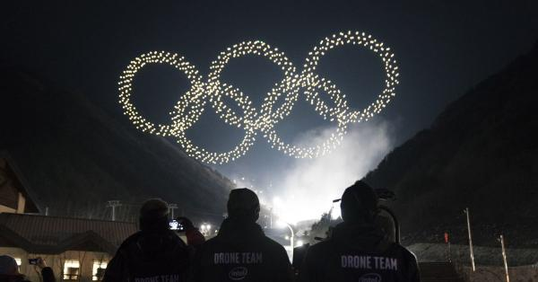photo image Intel's Winter Olympics light show featured a record-breaking 1,218 drones