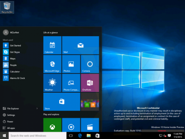 Windows 10 build 10163 screenshots leak online