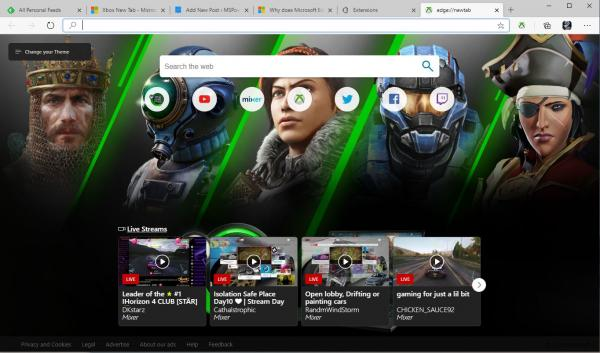Microsoft releases Xbox New Tab…