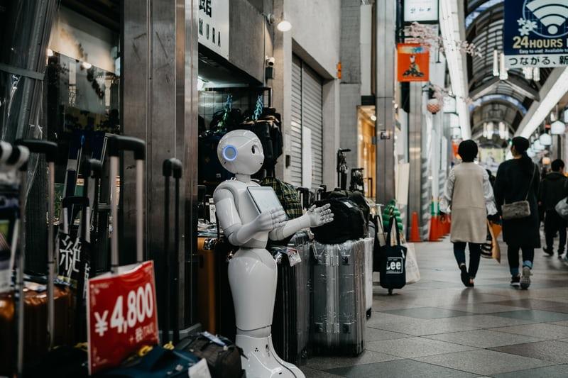 robot on street