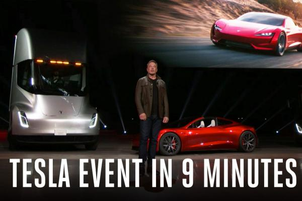 Watch this supercut of Elon Musk unveiling Tesla's new Semi truck and Roadster