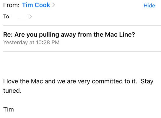 photo image Tim Cook Says Apple is 'Very Committed' to the Mac and to 'Stay Tuned'